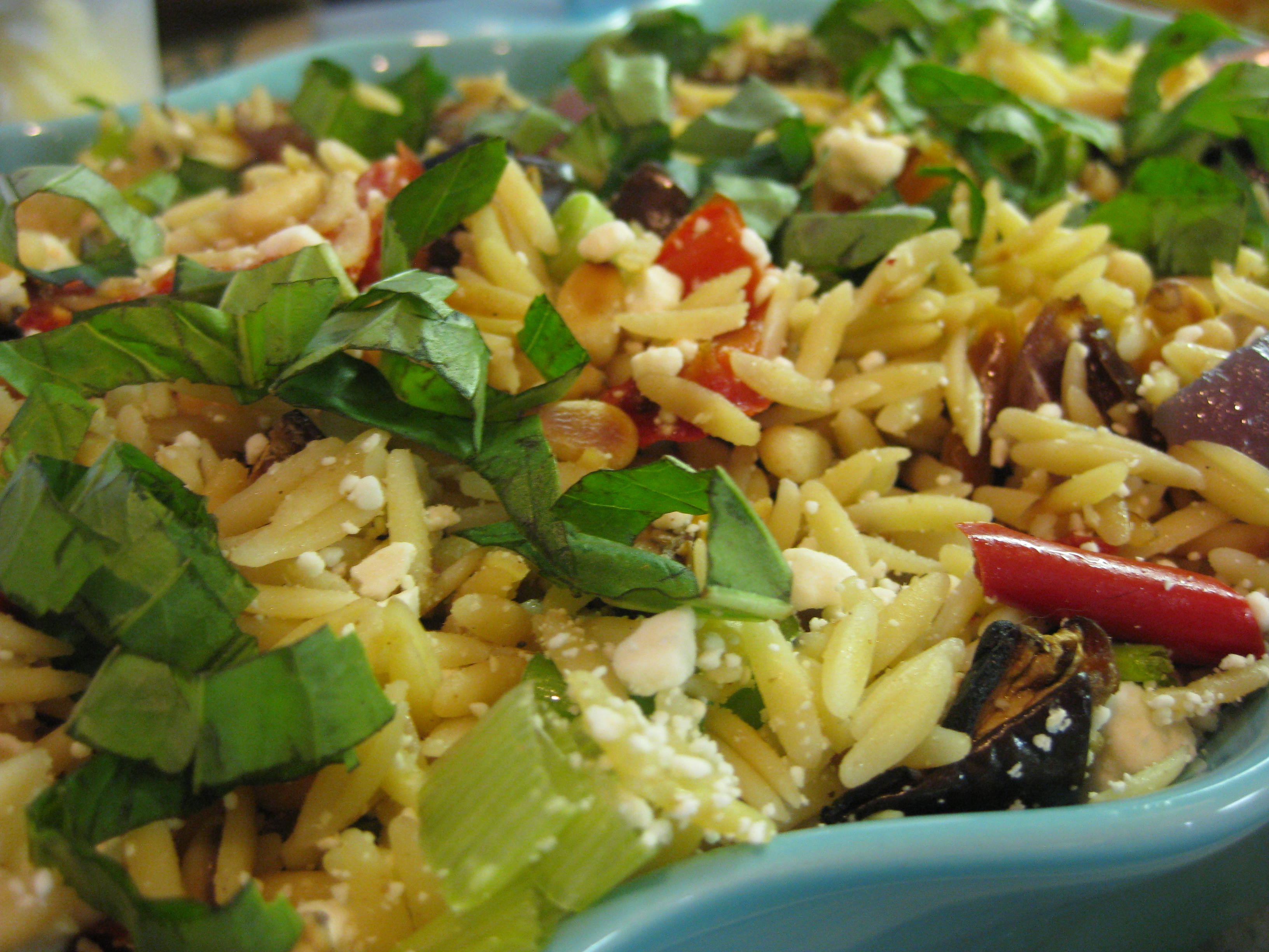 Health Food [orzo with roasted vegetables] | a glass of milk