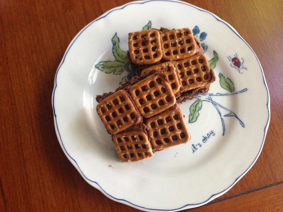 nutella pretzel brownies