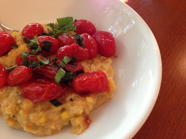 cherry tomatoes and fresh corn polenta