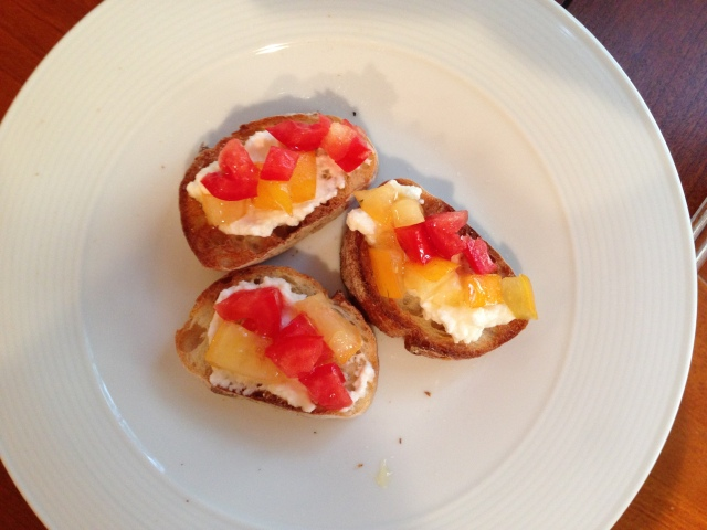 tomato, honey, ricotta bruschetta