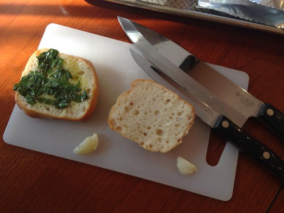 garlic bread prep