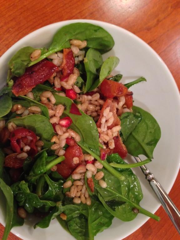 barley bacon pomegranate salad