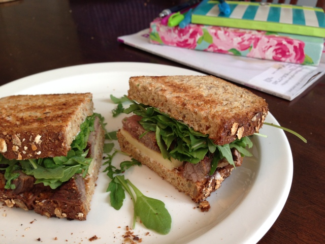 steak and arugula sandwich