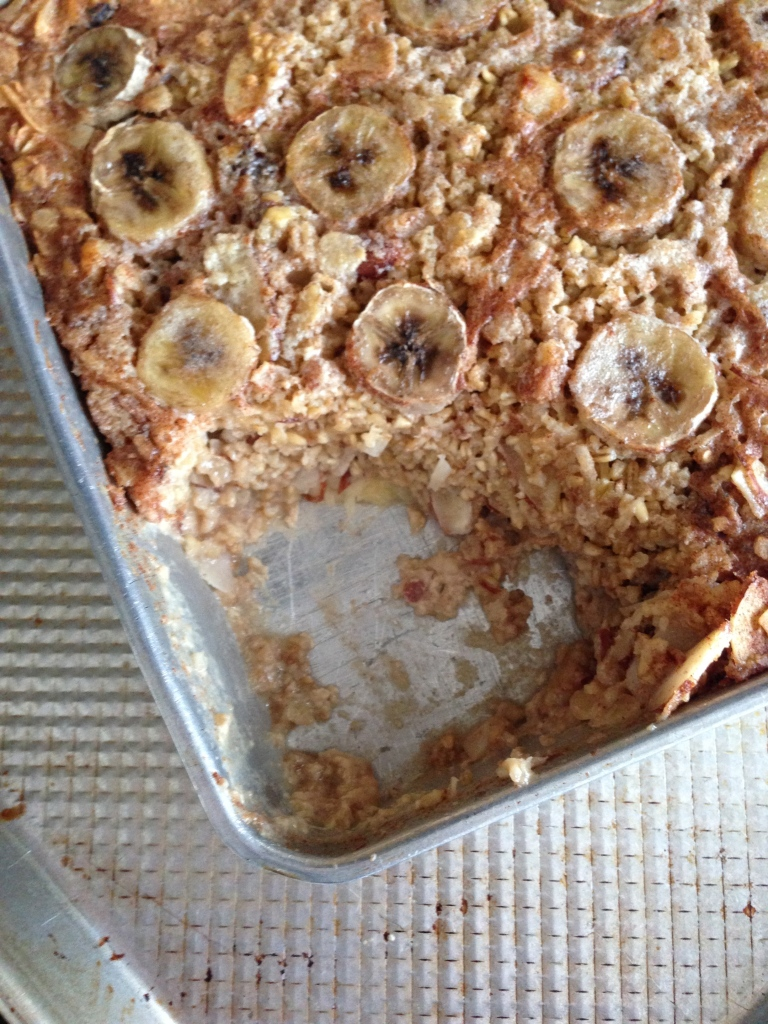 baked banana walnut oatmeal