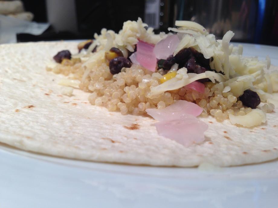 black bean quinoa burritos.