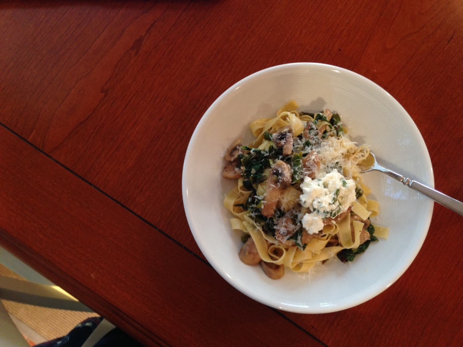 lemony pasta with asparagus, mushrooms, greens, and herbed ricotta.