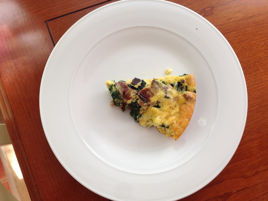 bacon, spinach, and cheddar frittata.