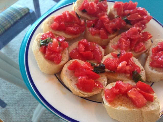 marinated tomato bruschetta.