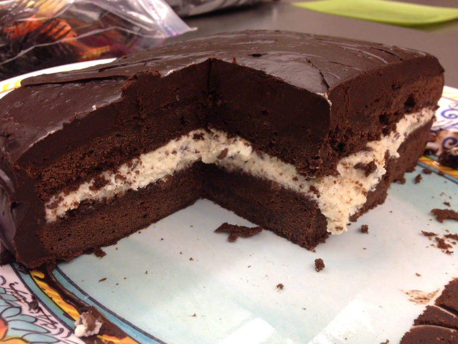 chocolate cassata cross section.