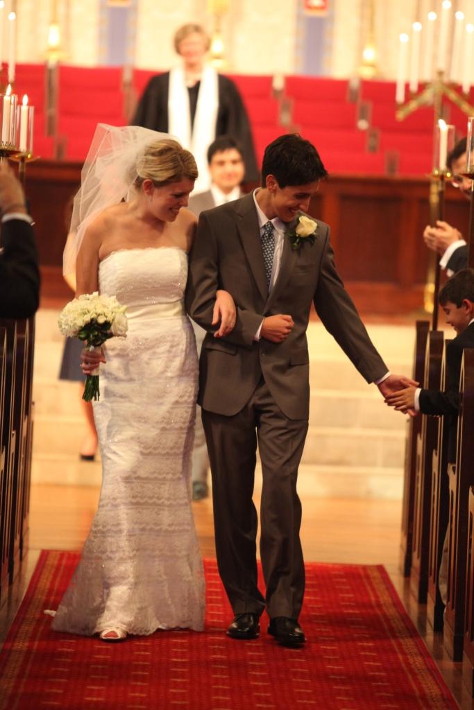wedding high five.