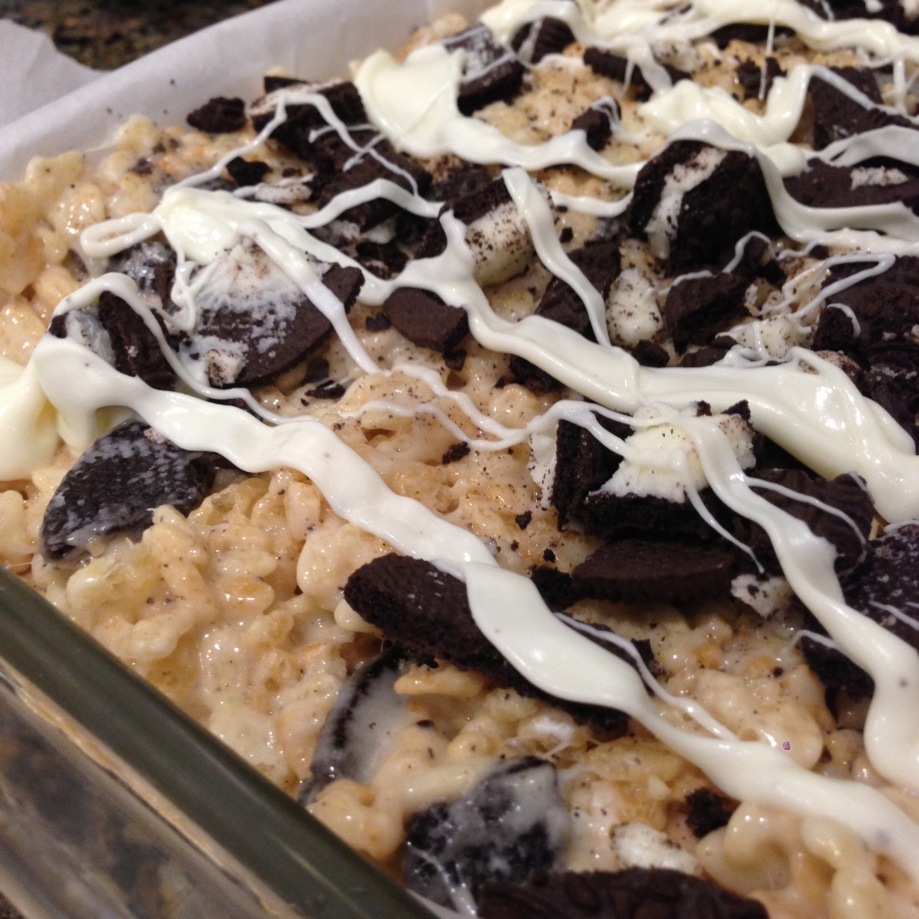 cookies and cream rice krispie treats.