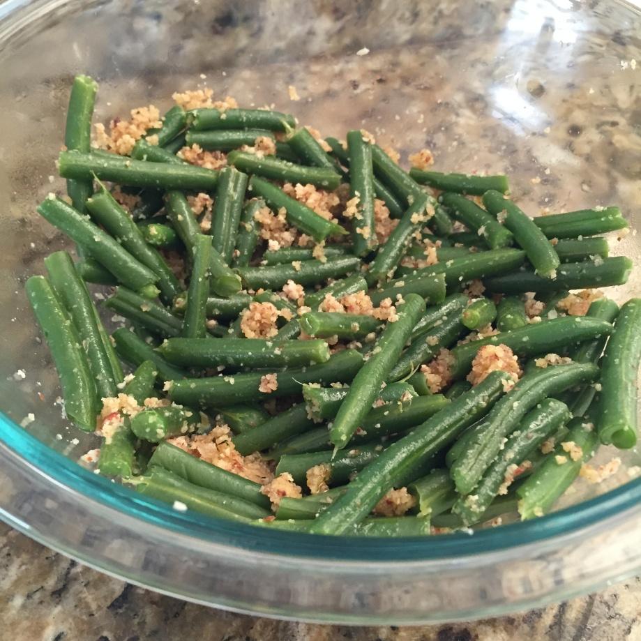 green beans with almond pesto.