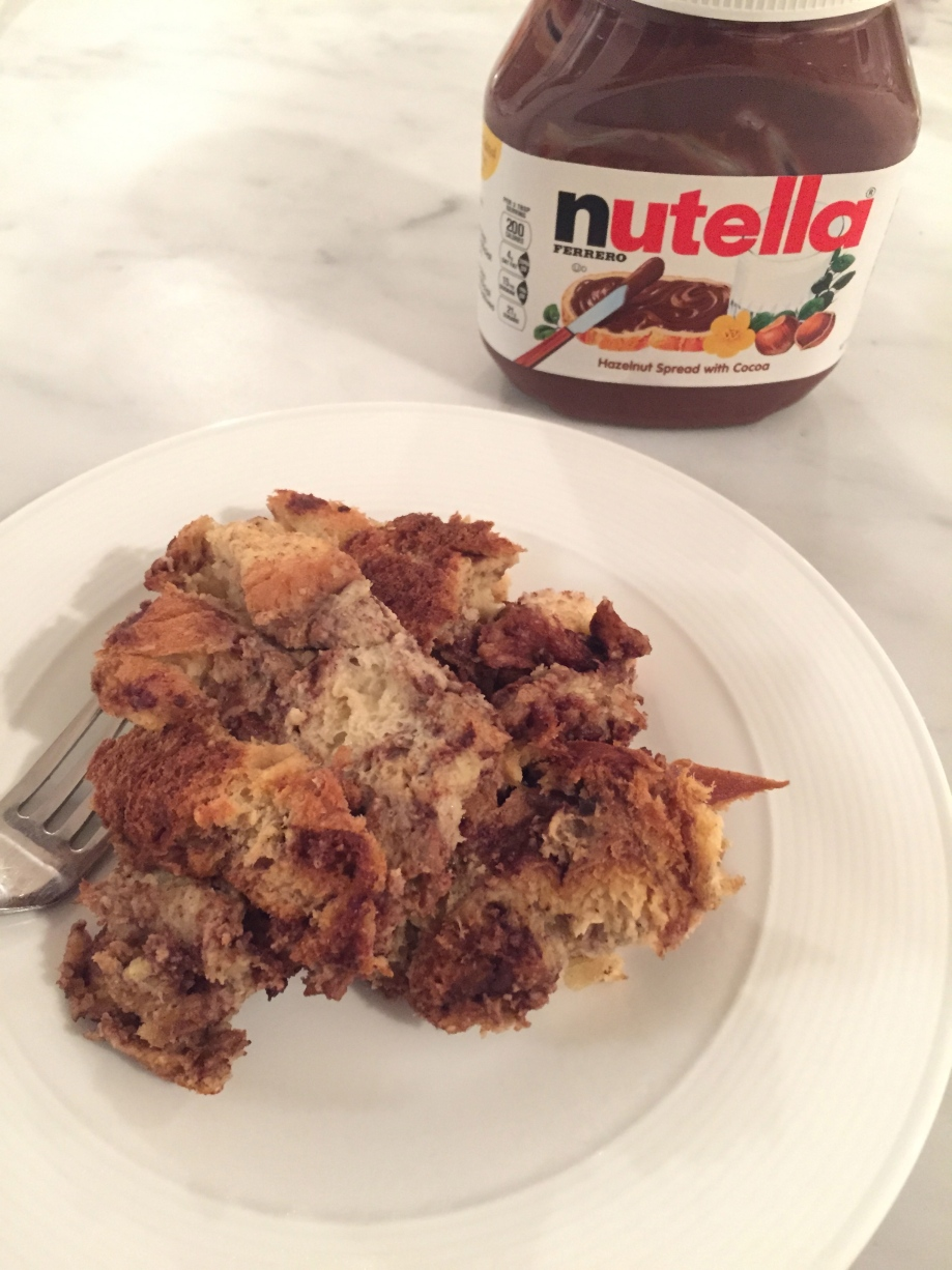 slow cooker nutella french toast casserole.