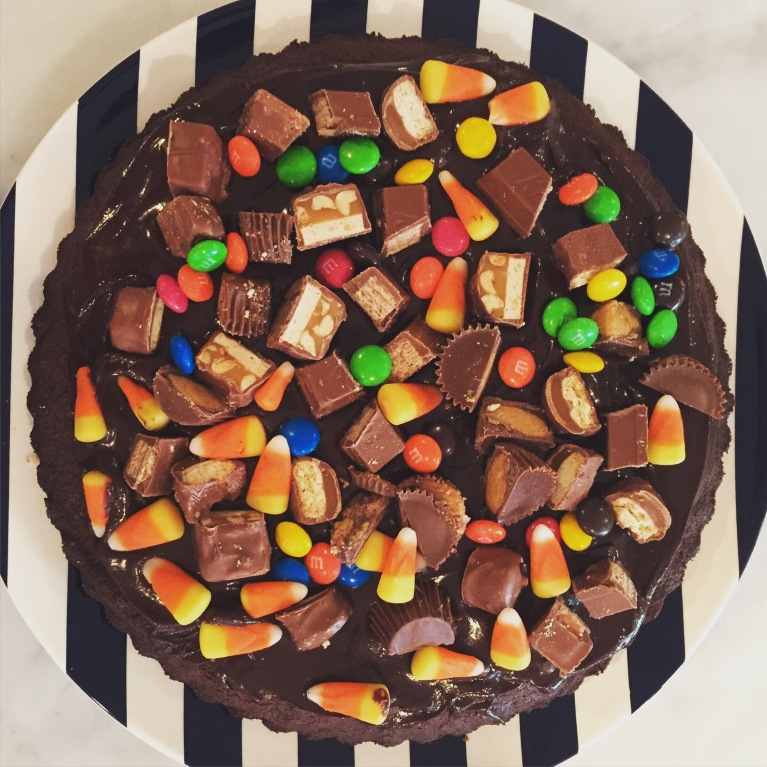 peanut butter nutella brownie candy tart.